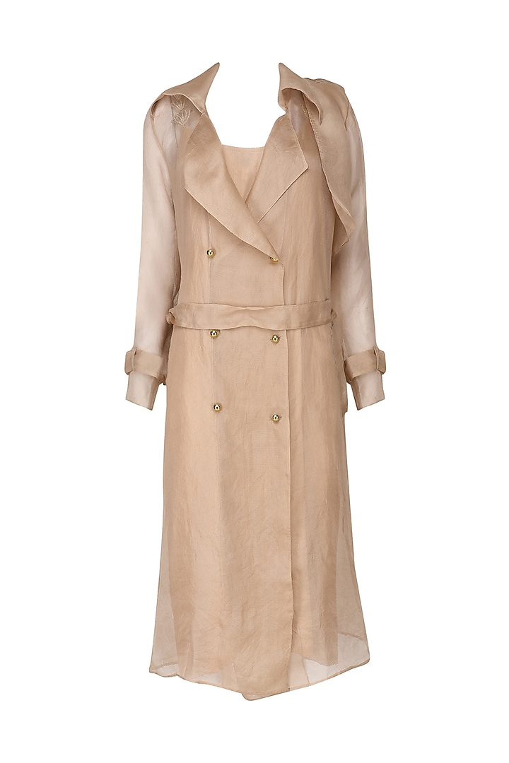 Nude Organza Trench Coat with Nude Slip Dress by Varsha Wadhwa
