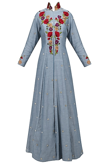 Denim Blue Embroidered Jacket Gown with Maxi Dress by Varsha Wadhwa