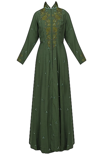 Bottle Green Embroidered Front Open Jacket Gown with Dress by Varsha Wadhwa