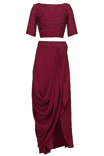 Maroon Pearl Embroidered Crop Top and Drape Skirt Set by Varsha Wadhwa