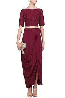 Maroon Pearl Embroidered Crop Top and Drape Skirt Set by Varsha Wadhwa