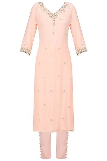 Salmon Pink Pearl Embroidered Kurta and Pants Set by Varsha Wadhwa