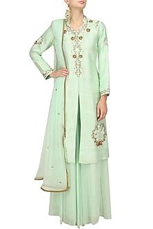 Mint Green Embroidered Jacket and Sharara Pants Set by Varsha Wadhwa