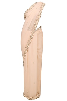 Salmon Pink Pearl Embroidered Saree and Blouse Set by Varsha Wadhwa