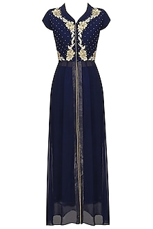 Midnight Blue Pearl Embroidered Jacket and Pants Set by Varsha Wadhwa