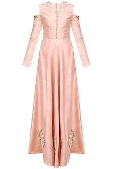 Salmon Pink Embroidered Cold Shoulder Anarkali Set by Varsha Wadhwa