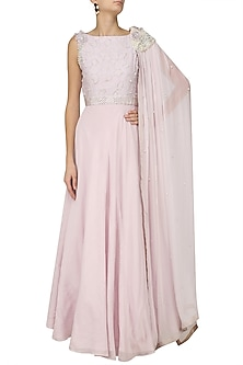 Silver Mauve Pearl and 3D Flowers Embroidered Cape Gown by Varsha Wadhwa