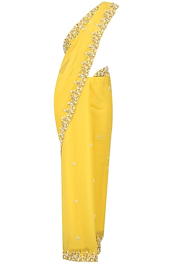Maize Yellow Pearl Embroidered Saree and Blouse Set by Varsha Wadhwa