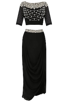 Black Pearl Embroidered Crop Top and Drape Skirt Set by Varsha Wadhwa