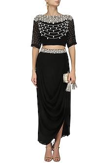Black Pearl Embroidered Crop Top and Drape Skirt Set by Varsha Wadhwa