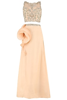 Tea Rose Embroidered Crop Top with Ruffle Skirt by Varsha Wadhwa