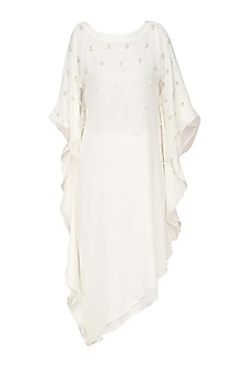 Off White Pearl Embroidered Kaftan by Varsha Wadhwa