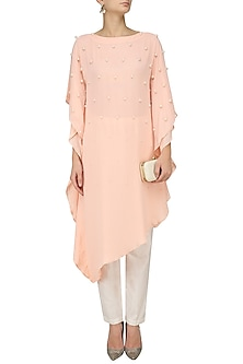 Salmon Pink Pearl Embroidered Kaftan by Varsha Wadhwa