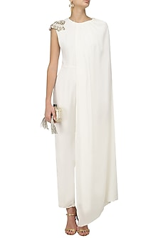 Off White Pearl Embellished Cape Jumpsuit by Varsha Wadhwa