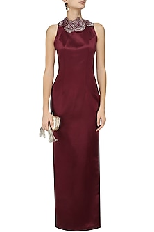 Maroon 3D Flowers Embellished Gown by Varsha Wadhwa