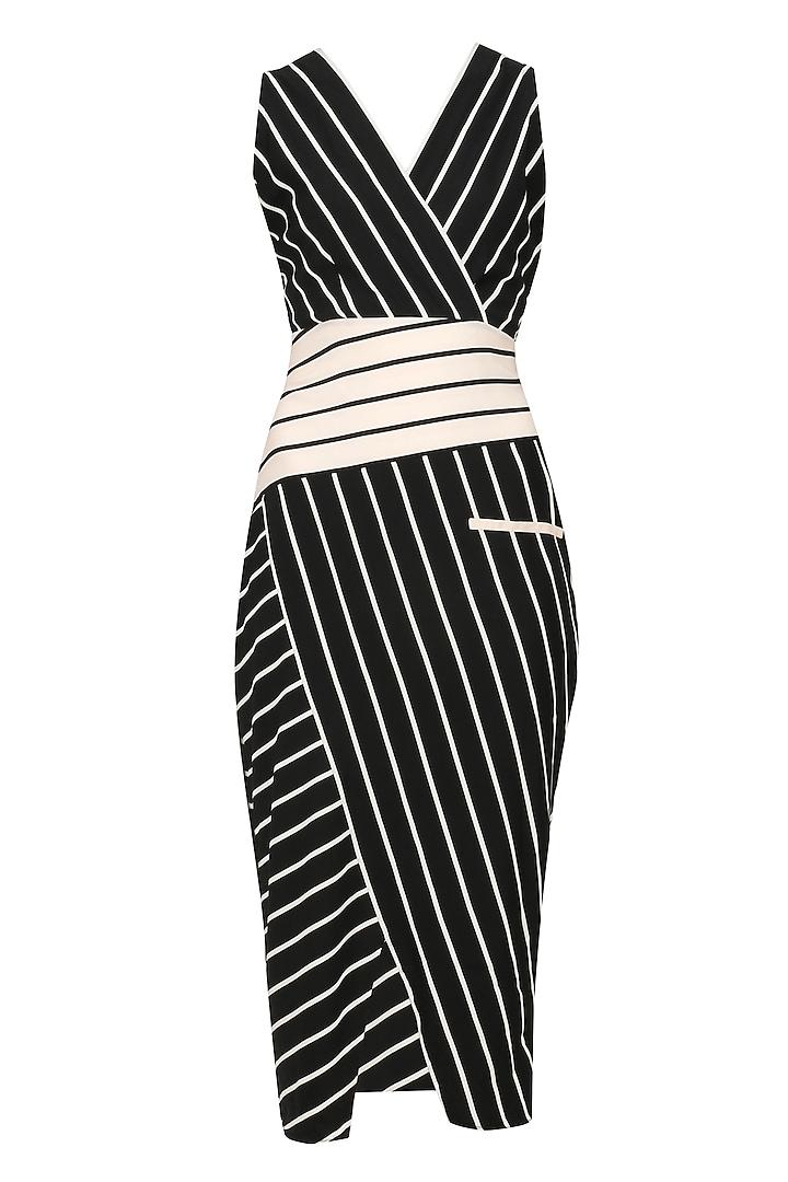 Black Striped Fitted Dress by Varsha Wadhwa