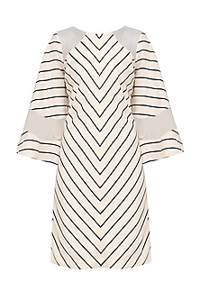 Off White Striped Bell Sleeves Dress by Varsha Wadhwa