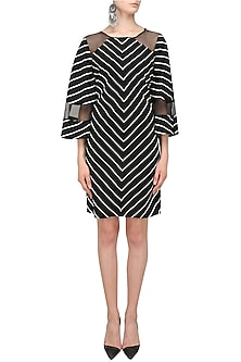 Black Striped Bell Sleeves Dress by Varsha Wadhwa