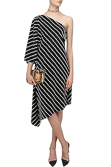 Black Striped One Shoulder Asymmetric Dress by Varsha Wadhwa