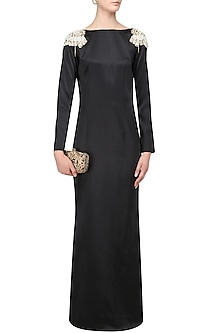 Black Back Open Gown by Varsha Wadhwa