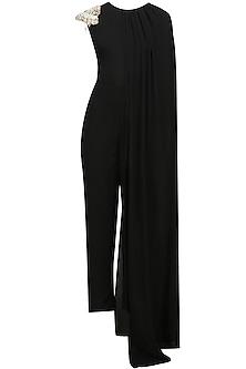 Black Pearl Embellished Cape Jumpsuit by Varsha Wadhwa