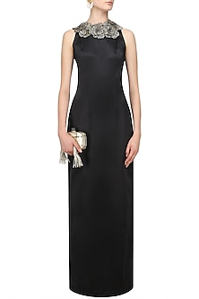 Black 3D Flowers Embellished Sequinned Gown by Varsha Wadhwa