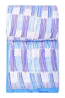 Blue Striped Pure Cotton Quilt by vVyom