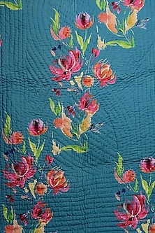 Pine Green Floral Dreams Pure Cotton Quilt by vVyom