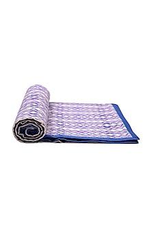 Cobalt Blue Striped Pure Cotton Dohar by vVyom