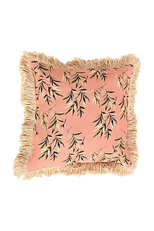 Peach Floral Dreams Accent Pure Cotton Cushion Cover (Set of 2) by vVyom