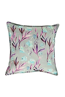 Powder Blue Floral Dreams Pure Cotton Cushion Cover (Set of 2) by vVyom