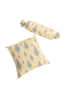 Powder Blue Leaf Print Pure Cotton Cushion Cover (Set of 2) by vVyom