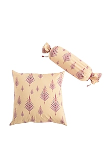 Purple Leaf Print Pure Cotton Cushion Cover (Set of 2) by vVyom