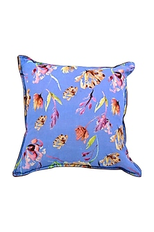Ocean Blue Floral Dreams Pure Cotton Cushion Cover (Set of 2) by vVyom