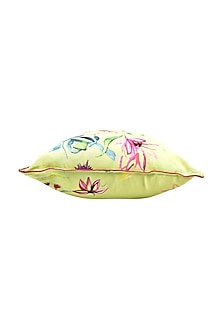 Lime Floral Dreams Pure Cotton Cushion Cover (Set of 2) by vVyom