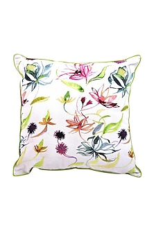 White Floral Dreams Pure Cotton Cushion Cover (Set of 2) by vVyom
