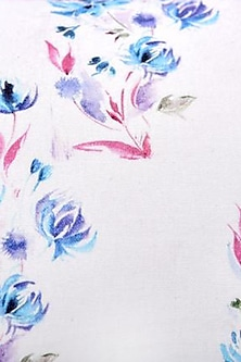 White & Blue Floral Dreams Pure Cotton Cushion Cover (Set of 2) by vVyom