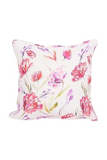 White & Red Floral Dreams Pure Cotton Cushion Cover (Set of 2) by vVyom