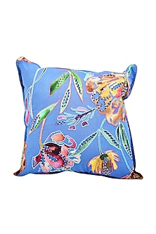 Cobalt Blue Floral Dreams Embroidered Cushion Cover (Set of 2) by vVyom