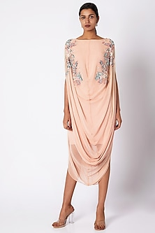 Peach Embroidered Cowl Dress by Vyasa By Urvi