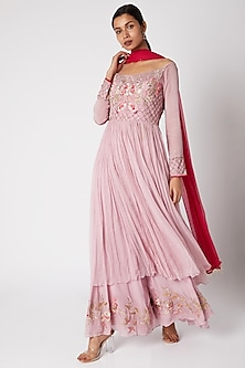 Mauve & Fuchsia Embroidered Sharara Set by Vyasa By Urvi