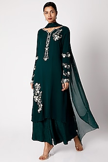Bottle Green Embroidered Tunic Set by Vyasa By Urvi