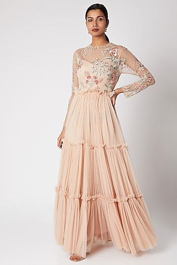 Nude Embroidered Tiered Gown by Vyasa By Urvi