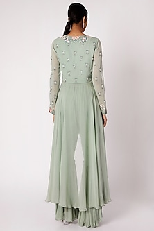 Mint Green Embroidered Gharara Set by Vyasa By Urvi