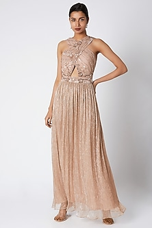 Bronze Embroidered Crossover Maxi Dress by Vyasa By Urvi