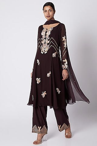 Wine Embroidered Tunic Set by Vyasa By Urvi