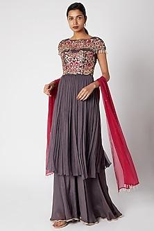 Purple Embroidered Sharara Set by Vyasa By Urvi