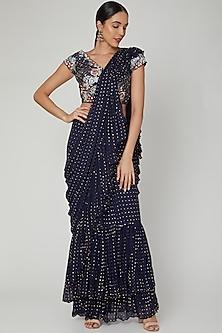 Cobalt Blue Embroidered Draped Saree Set by Vyasa By Urvi