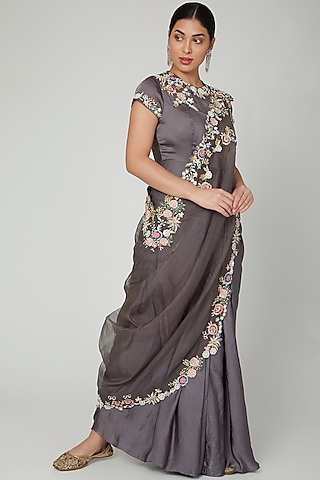 Grey Embroidered Saree Style Dress With Cape by Vyasa By Urvi