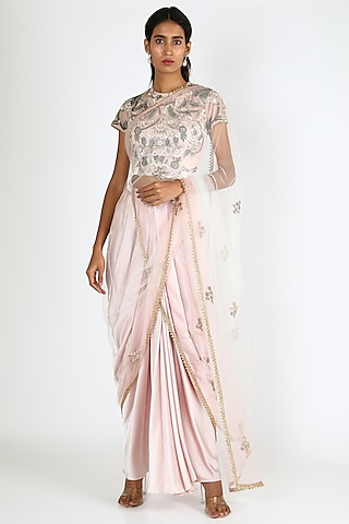 Light Pink Embroidered Pant Saree Set by Vyasa By Urvi